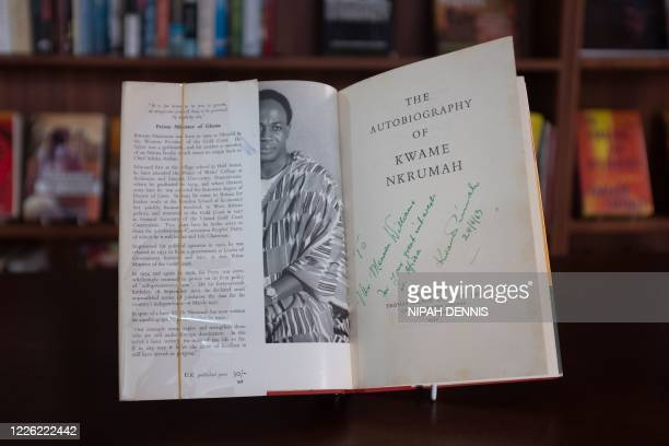 Book autographed by author Kwame Nkrumah is displayed in the Library of Africa and the African Diaspora in Accra, Ghana, on July 2, 2020. - The...