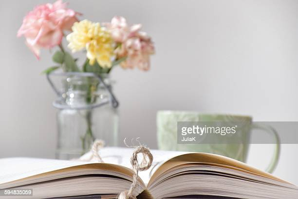 book, coffee and flowers - julia rose stock pictures, royalty-free photos & images