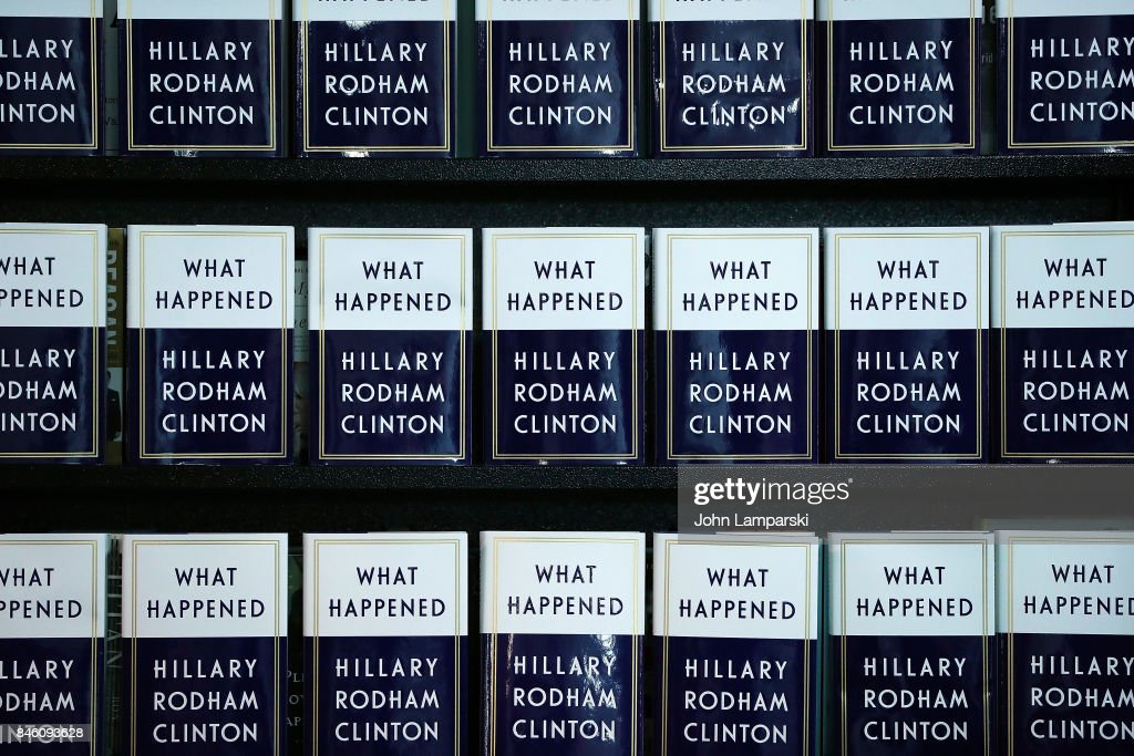 A book display is seen as former US Secretary of State, Hillary Clinton signs copies of her book, 'What Happened' at Barnes & Noble Union Square on September 12, 2017 in New York City.