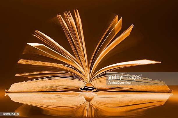 book fanned open on desk with motion blur between pages - old book stock photos and pictures