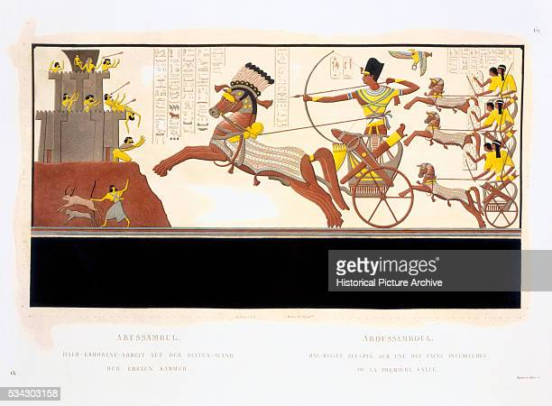 Book Illustration from an Engraving Showing Ramesses II at The Battle of Kadesh by Bigant and Allais