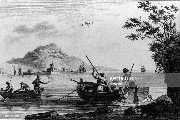Book illustration from Trait general des pesches by Henri-Louis Duhamel du Monceau. Men in two wooden dorries pull in fish near the shore. Some of...