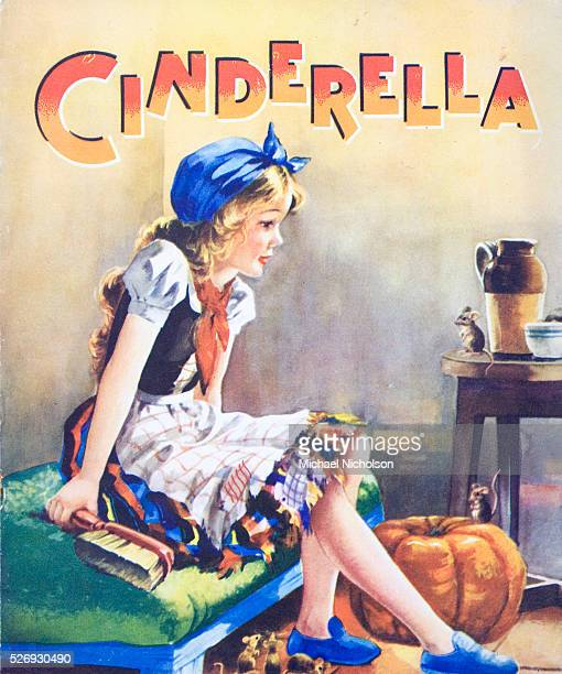A book illustration of Cinderella shown dressed for house cleaning with the pumpkin and friendly mice This classic folk tale of a triumph over...