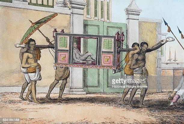 Book Illustration of Indians Bearing Long Palanquin