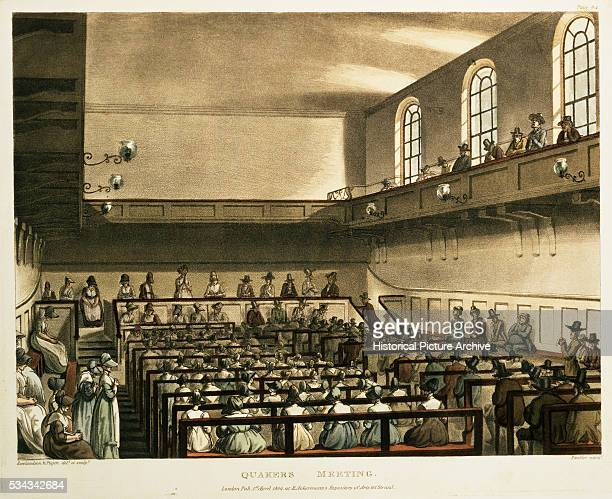 Book Illustration of Quakers Meeting by Thomas Rowlandson and Augustus Pugin