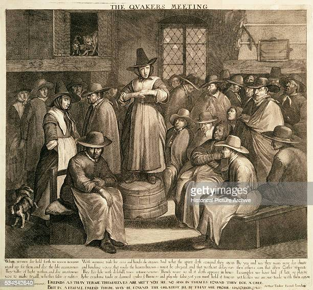 Book Illustration of The Quakers Meeting Engraving After Maarteen van Heemskerck