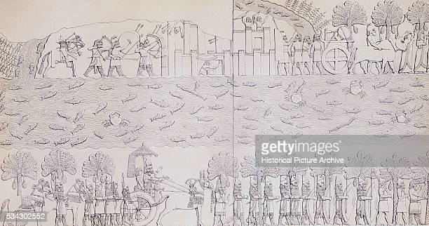 Book Illustration Showing Siege of City on River Banks at Kouyunjik