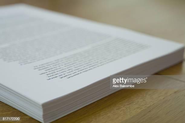 A book manuscript (pre-bound book)