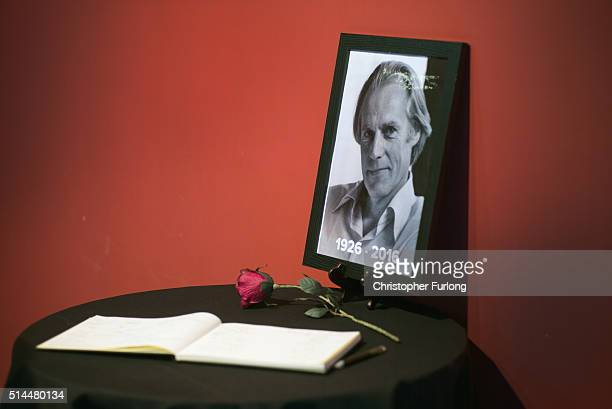 A book of condolence for Sir George Martin is opened for visitors to sign at The Beatles Story in Albert Dock on March 9 2016 in Liverpool England...