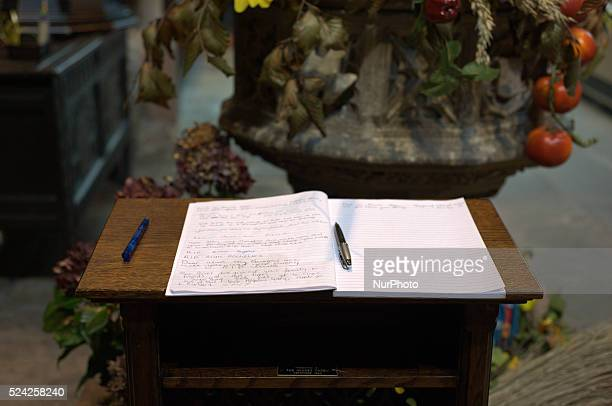 A book of condolence waiting to be signed in Eccles Parish Church on October 5 2014 in Salford England A video purporting to show the beheading of...