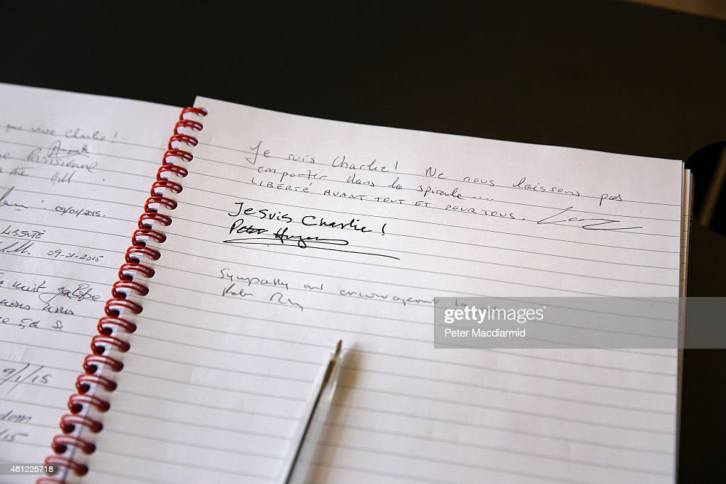 A book of condolences has been opened at the French Institute on January 9, 2015 in London, United Kingdom. According to reports at least five people have been taken hostage in a kosher deli in the Port de Vincennes area of Paris, while at the same time the two suspects from Charlie Hebdo shootings are holding one hostage in an industrial area north of Paris.
