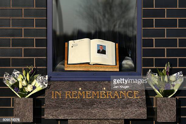 A book of condolences is seen in memory of former Bolton Wanderers Chairman Phil Gartside is placed at Macron Stadium on February 11 2016 in Bolton...