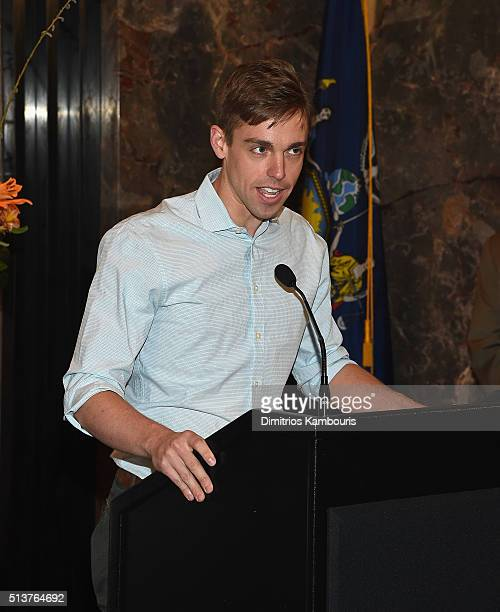 'Book Of Mormon' cast member Nic Rouleau lights The Empire State Building in celebration of their 5th Anniversary on March 4 2016 in New York City