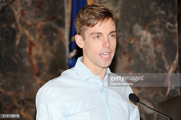 Book Of Mormon' Cast with actor Nic Rouleau light The Empire State Building in celebration of their 5th Anniversary on March 4, 2016 in New York City.