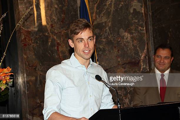 """Book of Mormon"""" Cast with actor Nic Rouleau light The Empire State Building in celebration of their 5th Anniversary at The Empire State Building on..."""
