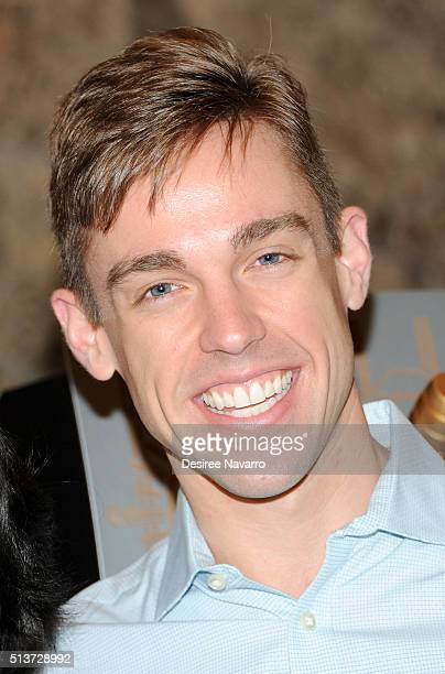 Book Of Mormon' Cast with actor Nic Rouleau lights The Empire State Building in celebration of their 5th Anniversary on March 4, 2016 in New York...