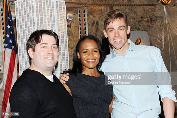 Book Of Mormon' Cast with members Christopher John O'Neill, Nikki Renee Daniels and Nic Rouleau light The Empire State Building in celebration of...