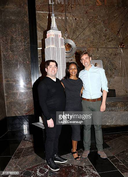 """Book of Mormon"""" Cast with members Christopher John O'Neill, Nikki Renee Daniels and Nic Rouleau light The Empire State Building in celebration of..."""