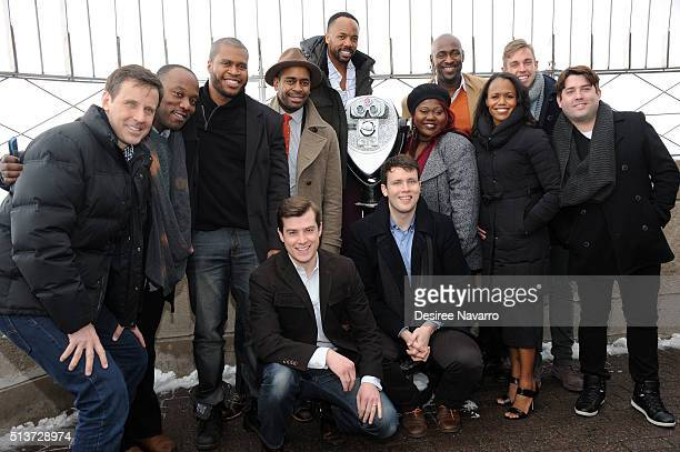 Book Of Mormon' Cast with members Nic Rouleau, Nikki Renee Daniels and Christopher John O'Neill light The Empire State Building in celebration of...