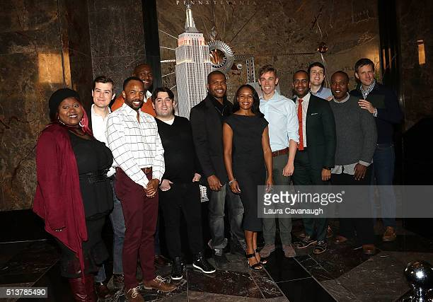 """Book of Mormon"""" Cast with members Nikki Renee Daniels, Christopher John O'Neill and Nic Rouleau light The Empire State Building in celebration of..."""