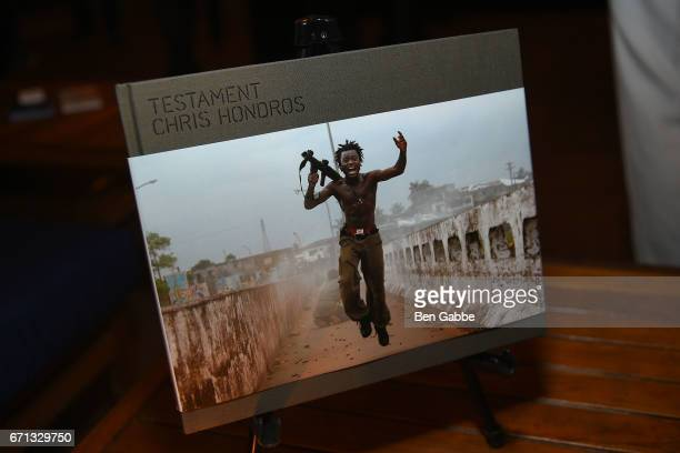 A book of photos by Chris Hondros on display at the Hondros Premiere After Party during Tribeca Film Festival at STK Rooftop on April 21 2017 in New...