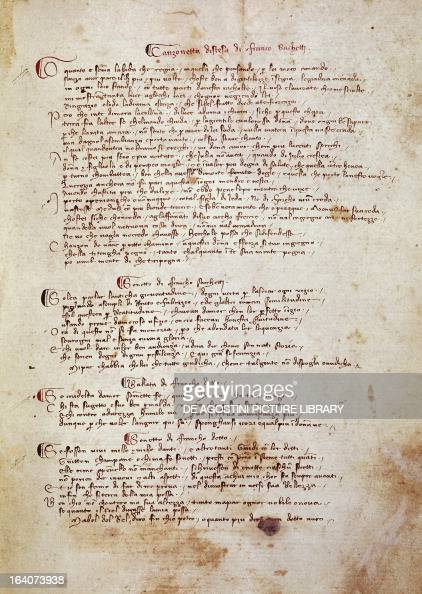 Book of rhymes, by Franco Sacchetti , 14th century Italian