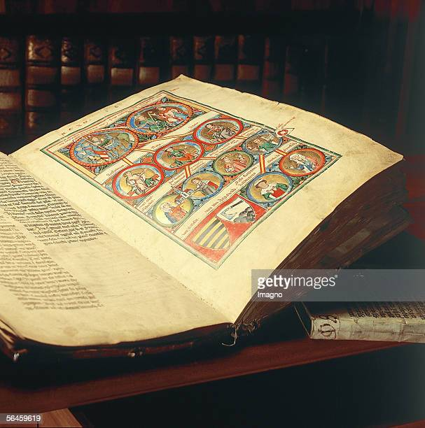 Book of the foundation of the Cistercian monastery in Zwettl, hardbacked in wild boar leather. Photography by Gerhard Trumler, around 1990. [In...