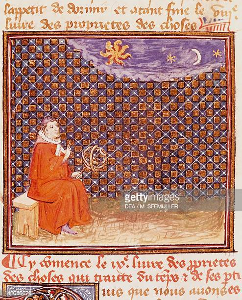 Book of the world and the heavenly bodies miniature from The Book of the Properties of Things by Jean Cordichon France 14th Century
