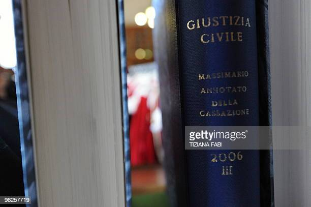 Book on civil justice is displayedon a shelf after a ceremony on the occasion of the opening of the judicial year on January 29, 2010 at the court of...