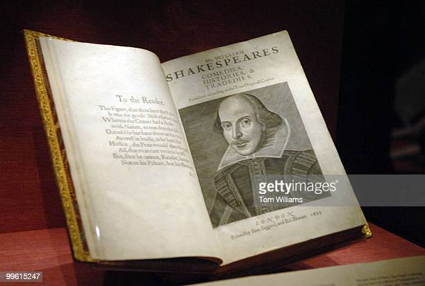 A book on William Shakespeare is on display at the Folger Shakespeare Library