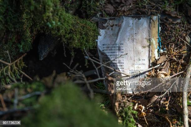 A book remains at the scene of an apparent suicide in Aokigahara forest on March 13 2018 in Fujikawaguchiko Japan Aokigahara forest lies on the on...