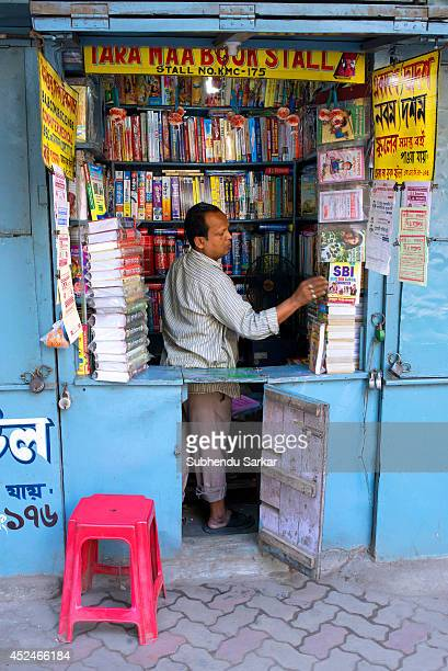 A book seller at his book stall in college street book market in Kolkata This book market is half a mile long in an area in central Kolkata where...