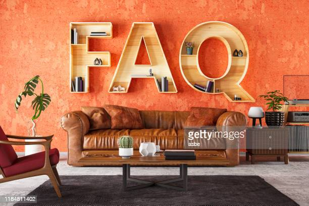 faq book shelf with cozy interior - q&a stock pictures, royalty-free photos & images