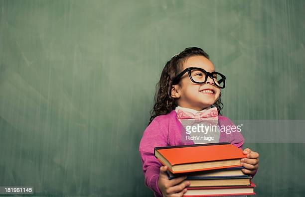 book smarts - nerd girl stock photos and pictures