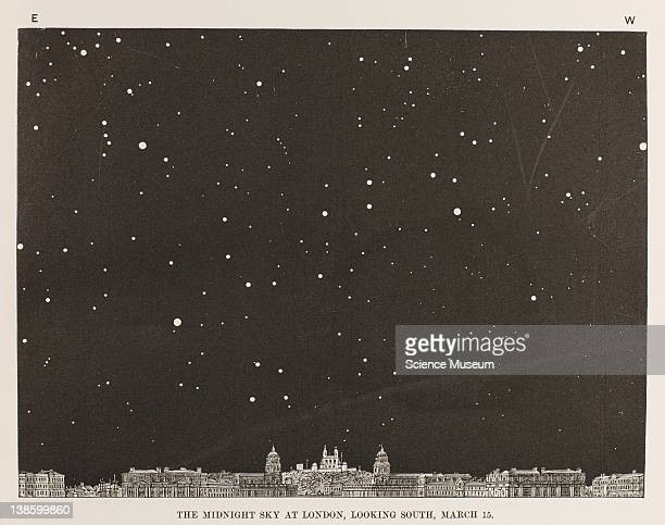 Book The Midnight Sky Familiar Notes on the stars and planets Edward Dunkin The Religious Tract Society The Midnight Sky at London looking South...