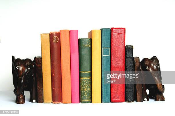 book with elephant bookends - bookend stock pictures, royalty-free photos & images
