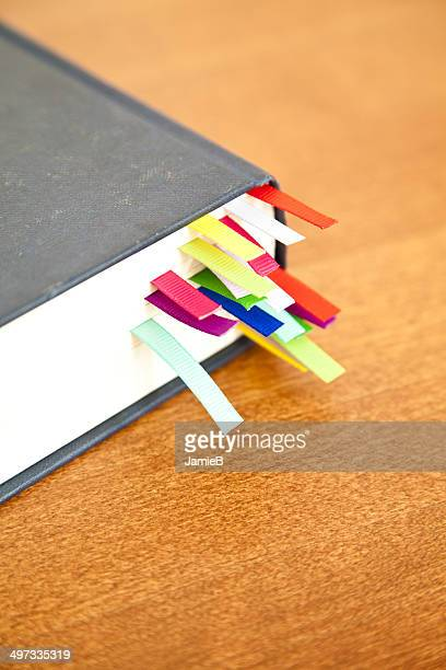 Book with multi-colored bookmarks