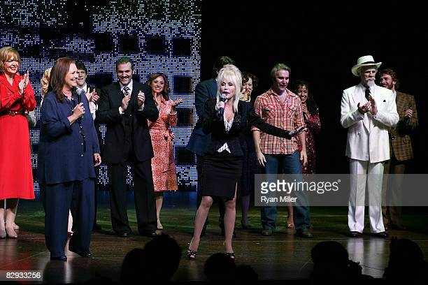 Book writer Patricia Resnick and Dolly Parton talk during the curtian call for the world premiere of of 9 to 5 The Musical at Center Theatre Group's...
