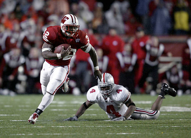 Booker Stanley 32 Of The Wisconsin Badgers Rushes For A First Down Against Ohio