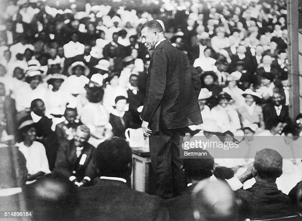 Booker T Washington American educator gives an address at the Tuskegee Institute