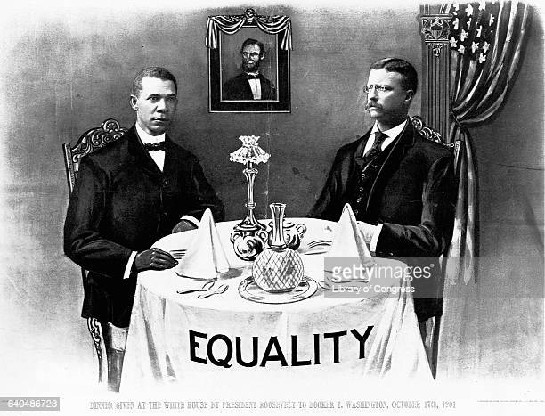 Booker T Washington dines With President Teddy Roosevelt The word Equality is written on the tablecloth October 17 1901