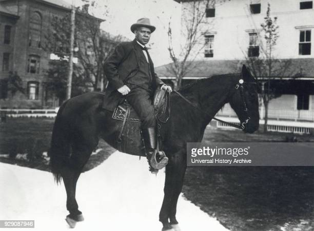 Booker T Washington Portrait on Horse in front of Tuskegee Institute Alabama USA 1912