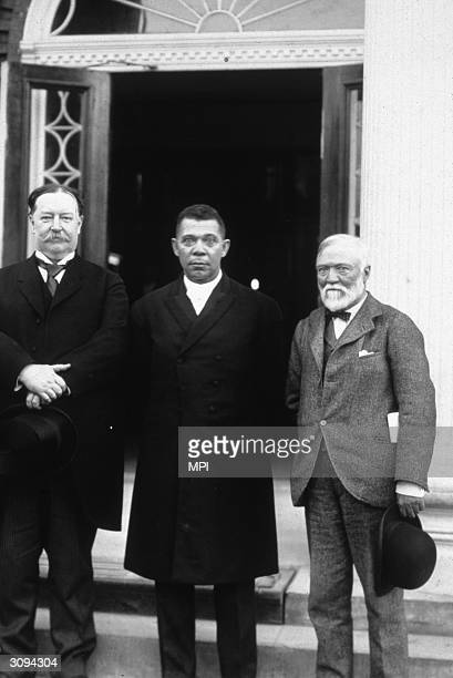 Booker T Washington the first principal of the Tuskegee Institute in Alabama with Vice President William Taft and steel magnate Andrew Carnegie on...