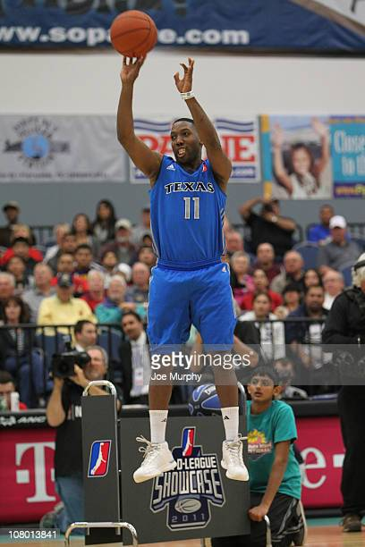 Booker Woodfox of the Texas Legends shoots the ball during the 3 Point Shooting Contest during the 2011 NBA DLeague Showcase Slam Dunk and 3 Point...