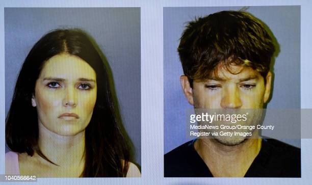 Booking mugs of Cerissa Laura Riley and surgeon Grant William Robicheaux are projected on a screen during a press conference in Santa Ana on Tuesday,...