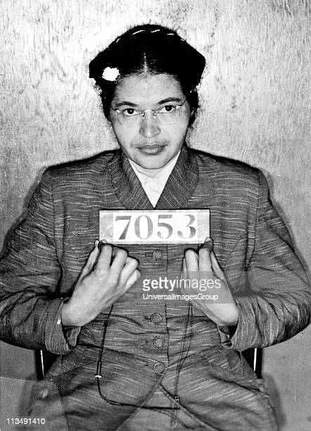 UNSPECIFIED Rosa Louise McCauley Parks American Civil Rights activist Booking photo taken at the time of her arrest for refusing to give up her seat...