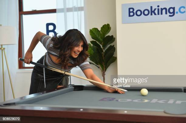 Bookingcom kicks off its 'Book the US' List with Priyanka Chopra at The Empire State Building on March 7 2018 in New York City