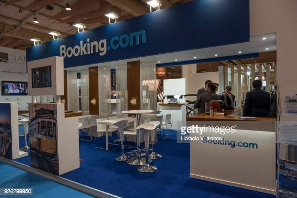 'Bookingcom' stand at BTL 'Bolsa de Turismo Lisboa' trade fair on March 02 2018 in Lisbon Portugal BTL is the benchmark for the National and...