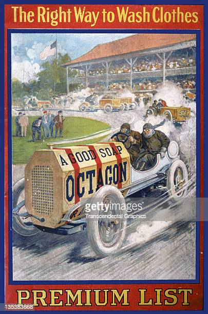 A booklet issued by Colgate Palmolive company to advertise Octagon soap features a race car cover with a race in progress printed circa 1920 in New...