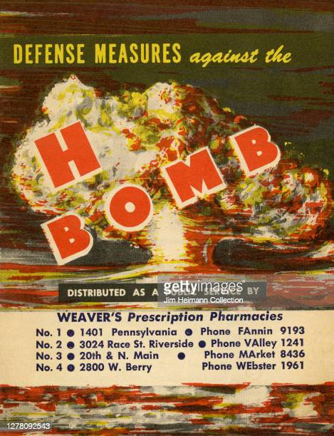 """Booklet titled """"Defense Measures against The H Bomb"""" shows an illustration of agiant mushroom cloud explosion, 1954."""